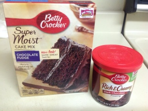 Choose your favorite chocolate cake mix and frosting, just not a whipped version.